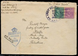 USA - Prexies. 1943 (8 June). Tcheck Army Independent / On Active Service / USA / APO 655 - PALESTINE / Haifa. Env Fkd 2 - Non Classés