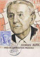 Carte Maximum MONACO  Georges AURIC 1985 COMPOSITEUR MUSIQUE - Cartas Máxima