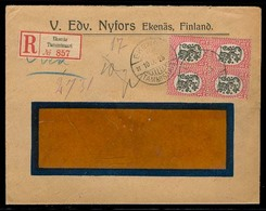 FINLAND. 1925. Ekenas - Germany. Registr Fkd Env. 1m Block Of 4. VF. - Finland