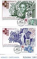 2 Cartes Carte Maximum MONACO   - CROIX ROUGE 1994 - Cartes-Maximum (CM)
