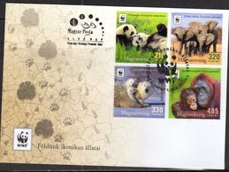 HUNGARY, 2018, WWF, FDC, PANDAS, ELEPHANTS, POLAR BEARS, ORANG UTANS, - FDC