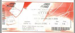 Ticket Entrée Paris Bercy Concert Sting Symphonicity 30/09/2010 - Tickets D'entrée
