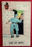 CPA MILITARIA à SYSTEME DEPLIANTE ILLUSTREE Par JP GOD HUMOUR MILITAIRE : CHEZ CES DAMES écrite à CHALONS 1929 - Cartoline Con Meccanismi