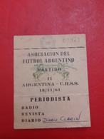 Argentina Futbol Entrada De Prensa Diario Clarin Partido Argentina Vs URSS 1961 - Tickets - Entradas