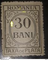 Error Revenue Stamp Romania 1919  Taxa De Plata 30 Bani Error Line In Frane Oval , Wwith Gumm Unused - Emissions Locales