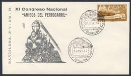 "Spain Espana 1973 Cover / Brief / Envelope - XI Congreso Nacional ""Amigos Des Ferriocarril"" / Nationalkongress - Treinen"