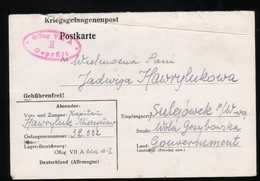 KRIEGSGEFANGENENPOST NAZI GERMANY THIRD REICH WW2 FROM PRISONER OF WAR POW CAMP OFLAG VIIA MURNAU TO SULEJOWEK GG POLAND - Brieven En Documenten