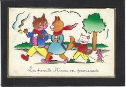 CPA Souris Mouse Chat Cat écrite Paillette - Chats