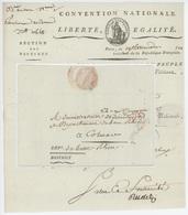 Paris An 3 - 6.8.1793 Convention Nationale, Les Représentants Du Peuple Héraldique Sénéchal 607 - Storia Postale