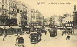 """LILLE  La Grand"""" Place ,la Déesse Et Les Cafés TRAMS Bocks Tartarat   Voiture RV - Lille"""