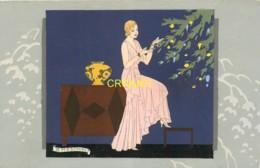 Illustrateur Art-Nouveau, Ars-Nova, Meschini, Jeune Femme Et Sapin De Noël, N° 1 , Superbe Carte Peinte Main - Autres Illustrateurs