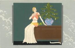 Illustrateur Art-Nouveau, Ars-Nova, Meschini, Jeune Femme Et Sapin De Noël, N° 2 , Superbe Carte Peinte Main - Autres Illustrateurs