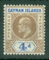 Cayman Islands: 1907   Edward (insc. 'Postage Postage')  SG13   4d   MH - Cayman (Isole)