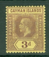 Cayman Islands: 1912/20   KGV    SG45c   3d  Purple/yellow  [on Orange-buff] MH - Kaimaninseln