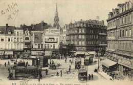 LILLE La Place De La Gare Commerces Trams Kiosque Havez   RV - Lille
