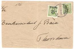 1919 DK Yv 121 (2öre Sur 5öre; Timbre émis Aux Iles Féroé) + 73 (5öre) Sur L De THORSHAVN Du 21/1/19; Certificat Diena - Islas Faeroes