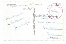 """Cachet Double Couronne """"S.P. 86.19 - A.F.N. Le Vaguemestre"""" Circ En FM Sans Date, CP Constantine, Brd Joly De Brésillon - Marcophilie (Lettres)"""
