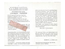 P 844.E.H. LAMBERT PAREDIS - °OPOETEREN 1887/+HAMONT 1967 -LUIK/Legeraalmoezenier 14/18/ NEERREPEN/ EIDEN /Rector HAMONT - Andachtsbilder