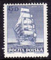 POLAND - 1952 SHIPBUILDERS DAY 45g + 15g DAR POMORZA TALL SHIP STAMP FINE MINT LMM * SG763 - Unused Stamps