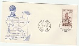 1960 ITALY FDC VITTORIO BOTTEGO Explorer Stamps Cover Map Of Africa - F.D.C.