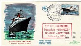TP N° 1325 Seul Sur Enveloppe Voyage Inaugural Du France Avec Retour à Cerès Paris - 1961-....
