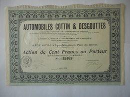Automobiles COTTIN Et DESGOUTTES 1920 LYON Place Du Bachut - Automobile