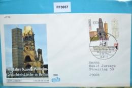 FF3657 FDC 100 Jahre Kaiser-Wilhelm-Gedächtniskirche, Kirche, DE 1995 - [7] République Fédérale