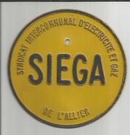 """Plaque Métal """"Syndicat Intercommunal D'electricité Et De Gaz De L'allier"""" SIEGA - Technical"""