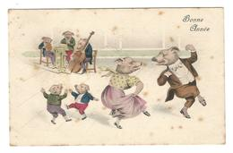 CP : Cochon Humanisé Dansant, Violoncelle, Violon, Contre Basse, Partition, Noeud Papillon - Schweine