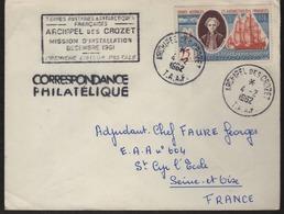 """Archipel Des Crozet 4-2 1962  Cachet Manuel Sur N° 18 Plus Cachet Rectangulaire """"Mission D'Installation...."""" - Tierras Australes Y Antárticas Francesas (TAAF)"""