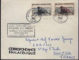 """Archipel Des Crozet 4-2 1962  Cachet Manuel Sur N° 6 Et 7 Plus Cachet Rectangulaire """"Mission D'Installation...."""" - Tierras Australes Y Antárticas Francesas (TAAF)"""