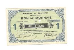 Noodgeld - Blandain - Argent De Nécessité - 1914 - 1 Fr - [ 3] Occupations Allemandes De La Belgique