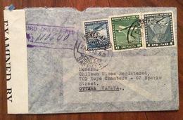 POSTA AEREA  PAR AVION   CHILE  CANADA FROM SANTIAGO  TO  OTTAWA THE  27/7/1945   CENSURATA - Cile