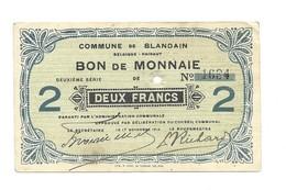 Noodgeld - Blandain - Argent De Nécessité - 1914 - 2 Fr - [ 3] Occupations Allemandes De La Belgique