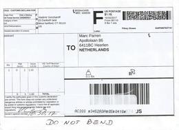 USA 2017 West Hartford Meter Pitney Bowes Customs Package Label Cover - Brieven En Documenten
