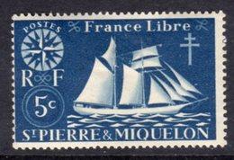 ST PIERRE & MIQUELON - 1942 SHIP 5c STAMP FINE MINT MM * SG322 - St.Pierre & Miquelon