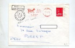 Lettre Flamme Ema Igny Entreprise I E A Sur Bequet  + Cachet Igny + Trouve A La Boite - Poststempel (Briefe)