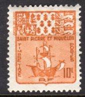 ST PIERRE & MIQUELON - 1947 POSTAGE DUE SHIP 10c STAMP FINE MINT MM * SG D385 - Postage Due