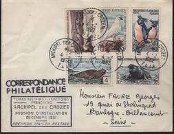 """Archipel Des Crozet 4-2 1962  Cachet Manuel Sur N° 3-5-6-13A Et 13B + Cachet Rectangulaire """"Mission D'Installation...."""" - Tierras Australes Y Antárticas Francesas (TAAF)"""