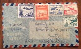 POSTA AEREA PAR  AVION  CHILE  U.S.A.  FROM SANTIAGO   TO SEATTLE  THE 1957 - Cile