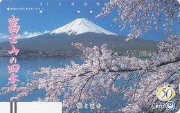 TC Ancienne Japon / NTT 250-059 - Volcan MONT FUJI / TBE - Vulcan Mountain Japan Front Bar Phonecard Balken TK - Montagnes
