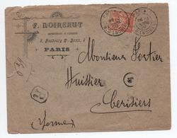 1900 - ENVELOPPE COMMERCIALE RECOMMANDE De PARIS Avec SAGE N° 94 - Storia Postale