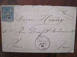 La GOULETTE Tunisie 1884 France Lettre Enveloppe Cover Colonie Sage 15 C Oblitération Rare - Covers & Documents