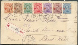 N°150/156 Obl. Sc VERVIERS 1 Sur Lettre Recommandée Du -II-1920 Vers Sainte-Marie-aux-Mines. - TB - 13730 - 1918 Rotes Kreuz