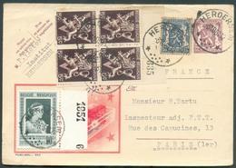 N°426-674A(4)-863 - 50 Cent. Lion + 5 Cent. Lion V (bloc De 4) + 90 Cent. Fondation Musicale En Affr. Compl. S/E.P. Cart - Postmarks With Stars