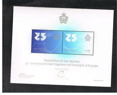 SAN MARINO - UNIF.BF130 FOGLIETTO - 2013 INGRESSO NEL CONSIGLIO D' EUROPA       - NUOVO ** - Hojas Bloque