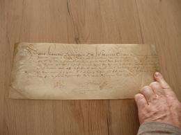 1592 Pièce Sur Velin Autographe Bellencier Commissaire Guerre Sous Henry IV Reçu Angers - Autógrafos
