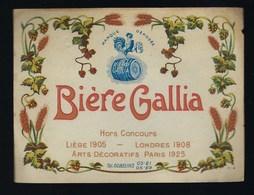 """Ancienne étiquette Bière France:  Gallia Hors Concours Liege 1905 Londres 1908 Paris 1925 """"coq, Tonneau"""" - Bière"""