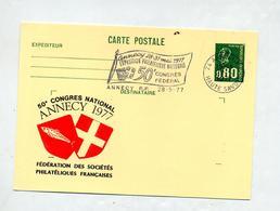 Carte Postale 0.80 Bequet Flamme Annecy Congres Illustré Armoirie - Entiers Postaux