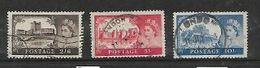 Great Britain, EIIR, 1958, Castles, 2'6, 5/=, 10/-, De La Rue Ptg, Used - Used Stamps
